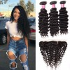 HJ Beauty Peruvian Deep Wave Curly Hair 3 Bundles with Ear to Ear 13*4 Lace Frontal Closure