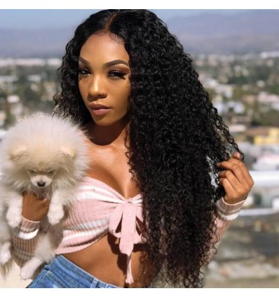 HJ Beauty Hair Peruvian Curly Hair 4 Bundles with Lace Frontal Closure