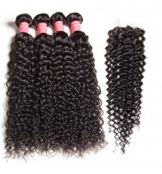 HJ Beauty Malaysian Virgin Curly Hair 4 Bundles With Closure Human Virgin Hair Extensions