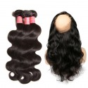 Peruvian Body Wave 3 Bundles with 360 Lace Frontal Hair Closure 100% Unprocessed Virgin Human Hair Weave HJ Beauty Hair